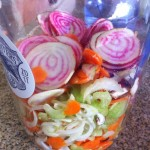 Slice and brine veggies for 4-6 hours in a brine (salt water solution)