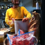 Sandor Katz makes strawberry wine, November 2011